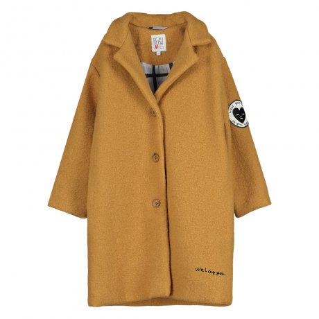 BEAU LOVES / Wool Coat / Grip AOP (Inside) / Dark Camel