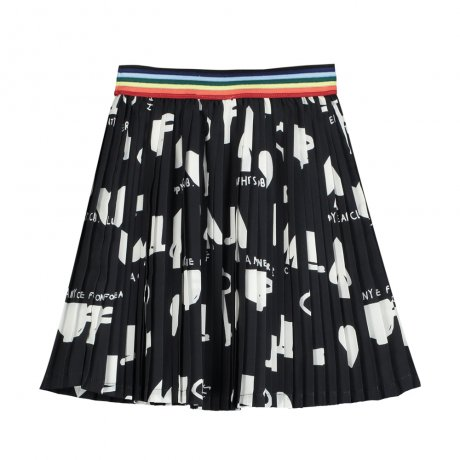 BEAU LOVES / Pleated Mini Skirt / Wonderland AOP / Black