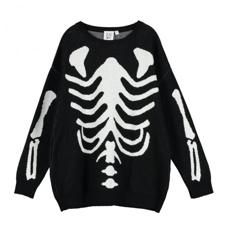 <img class='new_mark_img1' src='https://img.shop-pro.jp/img/new/icons8.gif' style='border:none;display:inline;margin:0px;padding:0px;width:auto;' />BEAU LOVES / Knit Tracked Suit Sweater / Jacquard Skeleton / Black