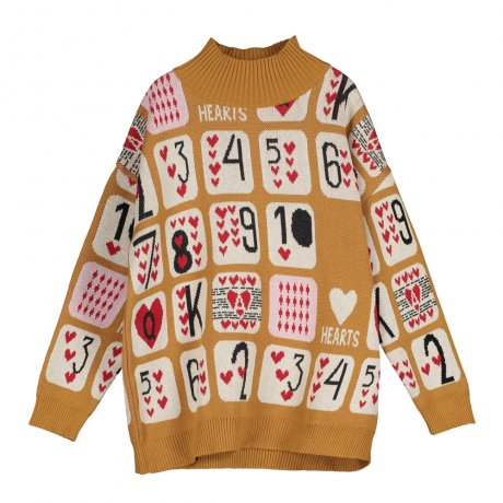<img class='new_mark_img1' src='https://img.shop-pro.jp/img/new/icons8.gif' style='border:none;display:inline;margin:0px;padding:0px;width:auto;' />BEAU LOVES / Knit High Collar Sweater / Game Of Hearts Jacquard / Dark Camel