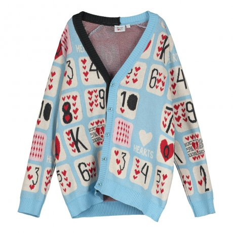 BEAU LOVES / Knit Cardigan / Game Of Hearts Jacquard / Sky