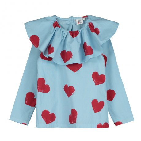 BEAU LOVES / Ruffle Collar Top / Hearts AOP / Light Blue