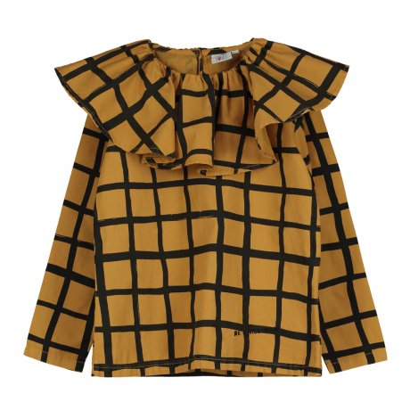 BEAU LOVES / Ruffle Collar Top / Grid AOP / Dark Camel