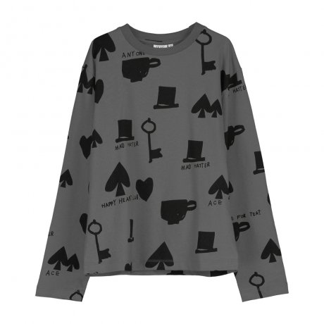 BEAU LOVES / Long Sleeved Jersey T-shirt / Wonderland AOP / Charcoal