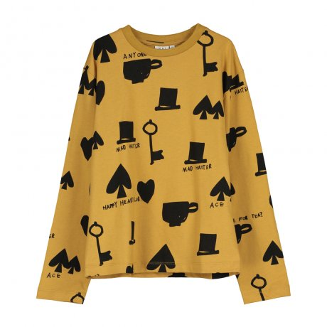 BEAU LOVES / Long Sleeved Jersey T-shirt / Wonderland AOP / Dark Camel