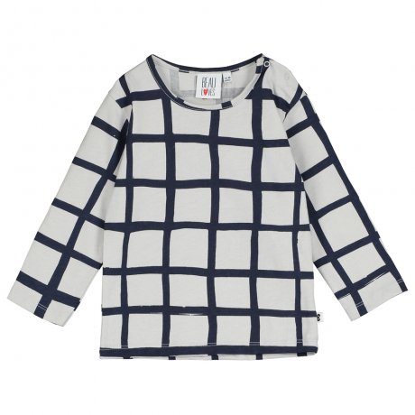 BEAU LOVES / Baby Long Sleeve T Shirt / Grid AOP / Quiet Grey