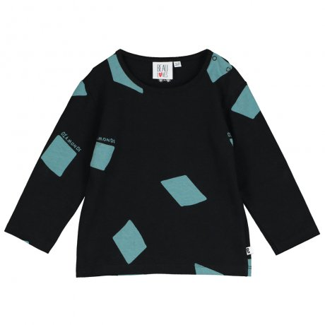 BEAU LOVES / Baby Long Sleeve T Shirt / Diamonds AOP / Black