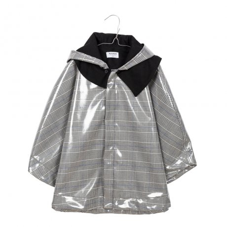 MOTORETA / RAIN CAPE / Black, blue and white chequered waterproof / AW190118