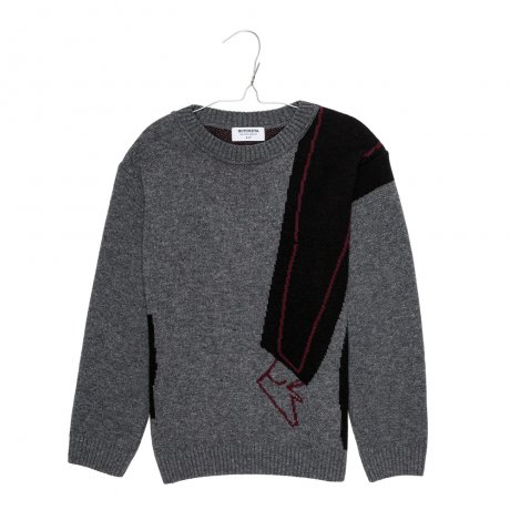 MOTORETA / LISBON SWEATER / Grey, black and burgundy / AW190072