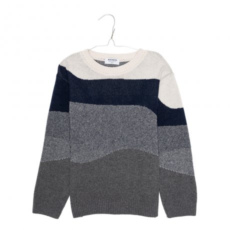 <img class='new_mark_img1' src='https://img.shop-pro.jp/img/new/icons8.gif' style='border:none;display:inline;margin:0px;padding:0px;width:auto;' />MOTORETA / OSLO SWEATER / Grey, navy & off white / AW19B069(Baby)