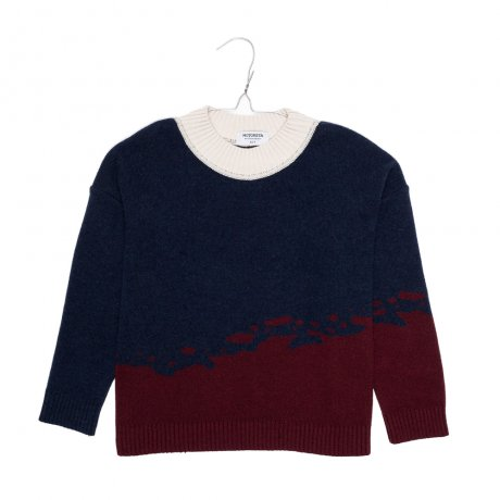 <img class='new_mark_img1' src='https://img.shop-pro.jp/img/new/icons8.gif' style='border:none;display:inline;margin:0px;padding:0px;width:auto;' />MOTORETA / JUNO SWEATER / Navy, burgundy & off white / AW190067