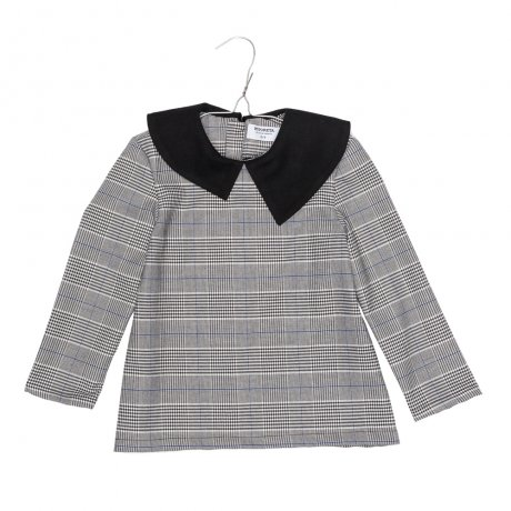 MOTORETA / ELMA BLOUSE / Black, blue and white chequered and black contrast / AW19B027(Baby)