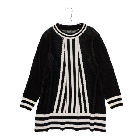 MOTORETA / RIBBED DRESS / Black with white stripes / AW19B018(Baby)