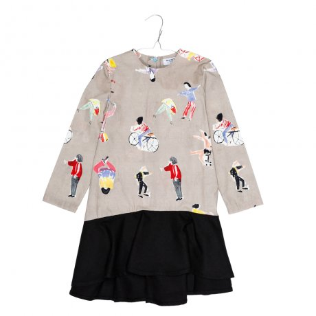 MOTORETA / PARIS DRESS / People print and black contrast / AW19B017(Baby)