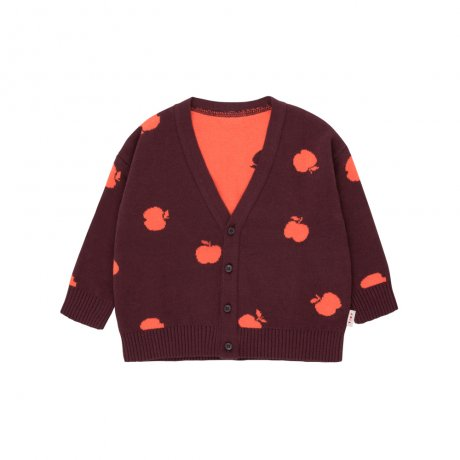 tinycottons / APPLES CARDIGAN / aubergine red / AW19-251