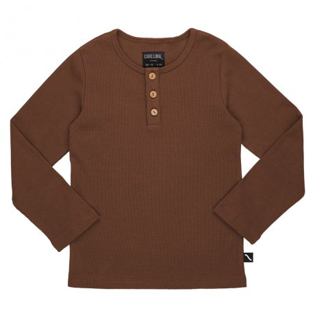 <img class='new_mark_img1' src='https://img.shop-pro.jp/img/new/icons8.gif' style='border:none;display:inline;margin:0px;padding:0px;width:auto;' />CarlijnQ / henley longsleeve (with 3 buttons / brown / rib) / Basics / BS112