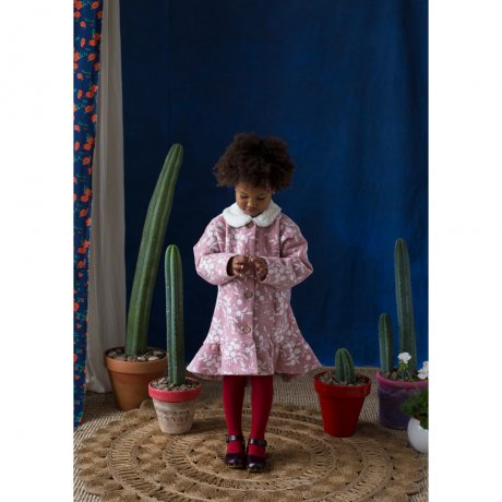 popelin / embroidered coat with frill / Pink / Mod.31.1