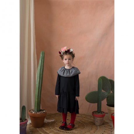 popelin / double frill dress / Black / Mod.25.3