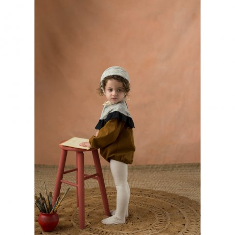 <img class='new_mark_img1' src='https://img.shop-pro.jp/img/new/icons8.gif' style='border:none;display:inline;margin:0px;padding:0px;width:auto;' />popelin / romper suit with yoke / Ochre tone / Mod.3.2