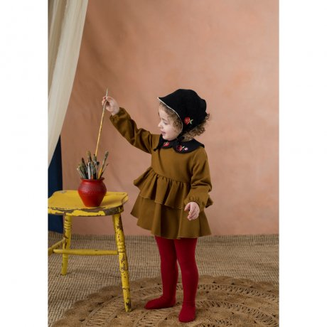 <img class='new_mark_img1' src='https://img.shop-pro.jp/img/new/icons8.gif' style='border:none;display:inline;margin:0px;padding:0px;width:auto;' />popelin / romper suit with frill / Ochre tone / Mod.1.2