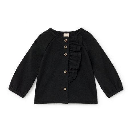 <img class='new_mark_img1' src='https://img.shop-pro.jp/img/new/icons8.gif' style='border:none;display:inline;margin:0px;padding:0px;width:auto;' />little creative factory / Baby Smart Ruffle Blouse / Black / B020
