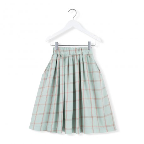 KIDS ON THE MOON / MINT PLAID SKIRT / AW19/28A