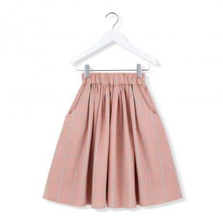 KIDS ON THE MOON / CORAL PLAID SKIRT / AW19/28