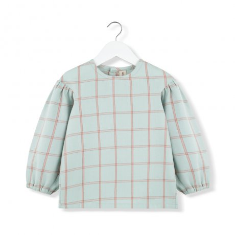 KIDS ON THE MOON / MINT PLAID PUFF BLOUSE / AW19/03A