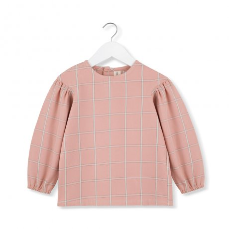 <img class='new_mark_img1' src='https://img.shop-pro.jp/img/new/icons8.gif' style='border:none;display:inline;margin:0px;padding:0px;width:auto;' />KIDS ON THE MOON / CORAL PLAID PUFF BLOUSE / AW19/03