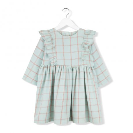 <img class='new_mark_img1' src='https://img.shop-pro.jp/img/new/icons8.gif' style='border:none;display:inline;margin:0px;padding:0px;width:auto;' />KIDS ON THE MOON / MINT PLAID FRILL DRESS / AW19/23A