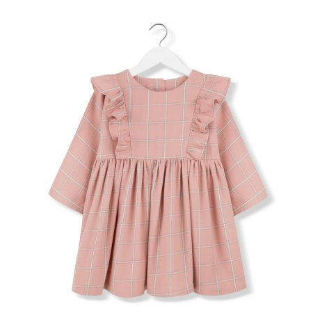 <img class='new_mark_img1' src='https://img.shop-pro.jp/img/new/icons8.gif' style='border:none;display:inline;margin:0px;padding:0px;width:auto;' />KIDS ON THE MOON / CORAL PLAID FRILL DRESS / AW19/23