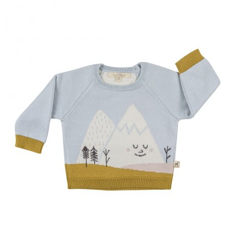 RED CARIBOU / Faces knitted sweater / Mysterious mountain / Sky gray / AW19-CV11-69