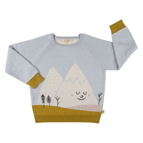 RED CARIBOU / Knitted sweater / Mysterious mountain / Sky gray / AW19-CV06-69