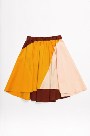 MOTORETA / STRIPES SKIRT / Maroon, pink & orange / SS200087(Adult)