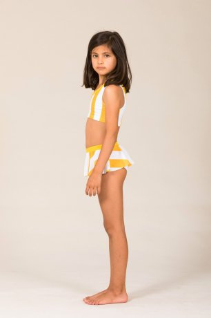 MOTORETA / ONE STRAP BIKINI / White & yellow stripes / SS200131