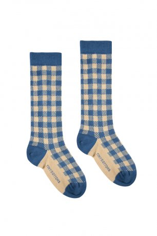 <img class='new_mark_img1' src='https://img.shop-pro.jp/img/new/icons8.gif' style='border:none;display:inline;margin:0px;padding:0px;width:auto;' />tinycottons / VICHY HIGH SOCKS / summer navy cappuccino / SS20-303