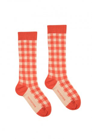 <img class='new_mark_img1' src='https://img.shop-pro.jp/img/new/icons8.gif' style='border:none;display:inline;margin:0px;padding:0px;width:auto;' />tinycottons / VICHY HIGH SOCKS / red light pink / SS20-303