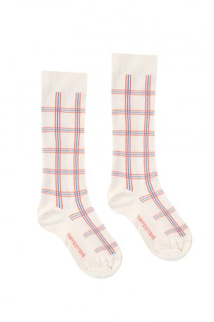 <img class='new_mark_img1' src='https://img.shop-pro.jp/img/new/icons8.gif' style='border:none;display:inline;margin:0px;padding:0px;width:auto;' />tinycottons / CHECK HIGH SOCKS / light cream red / SS20-302