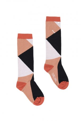 <img class='new_mark_img1' src='https://img.shop-pro.jp/img/new/icons8.gif' style='border:none;display:inline;margin:0px;padding:0px;width:auto;' />CarlijnQ / Knee socks / color blocks black / brown / KN167