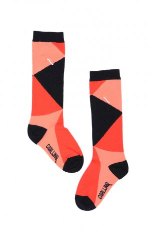<img class='new_mark_img1' src='https://img.shop-pro.jp/img/new/icons8.gif' style='border:none;display:inline;margin:0px;padding:0px;width:auto;' />CarlijnQ / Knee socks / color blocks black / pink / KN163