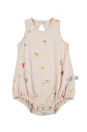<img class='new_mark_img1' src='https://img.shop-pro.jp/img/new/icons8.gif' style='border:none;display:inline;margin:0px;padding:0px;width:auto;' />RED CARIBOU / Baggy Onesie / Tropical birds / Pink Tint / SS20-OS03-31