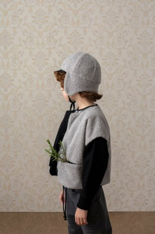 popelin / reversible hat with earflaps / Grey knitted / Mod.35.3