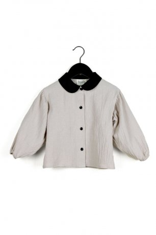 popelin / shirt with Peter Pan collar / Sand / Mod.11.1
