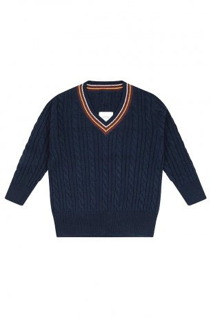 REPOSE AMS / KNIT V NECK SWEATER / MARINE BLUE