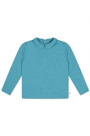 REPOSE AMS / T-SHIRT WITH COLLAR / DUSTY STORM BLUE