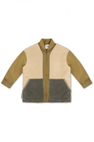 REPOSE AMS / TEDDY BOMBER COAT / KHAKI COLOR BLOCK