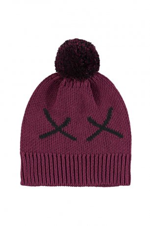 BEAU LOVES / Chunky Knit Hat with Pom Pom / Fuschia