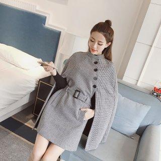 韓国ワンピース❤千鳥格子のケープを羽織ったみたい♪ワンピース