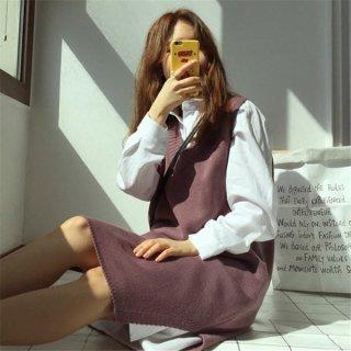 韓国ニットワンピース❤Vネックベストみたい♪スリットで重ね着をチラ見せ♪ニットワンピース