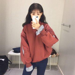 韓国トップス❤ストライプ柄がチラリ♪トレーナートップス